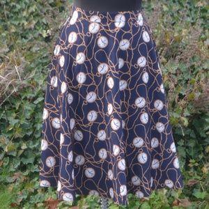 NWOT Modcloth 2X A-Line Skirt Watch Clock Pattern